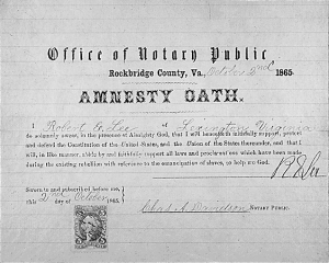 Amnesty Oath Robert E Lee