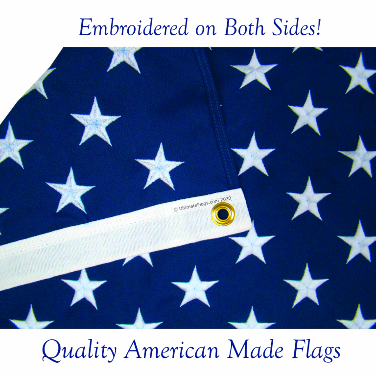 beautifully embroidered on both sides American Made USA flags