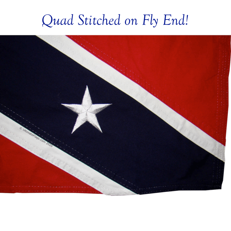 fly end of confederate flag quad stitched