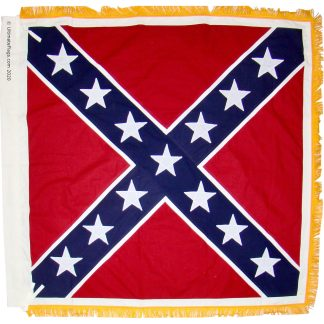Confederate Battle Flag Infantry 52 x 52 inch cotton embroidered with pole sleeve / ties and gold fringe