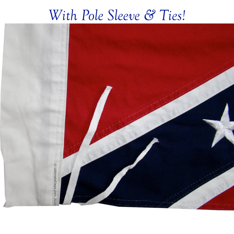 confederate flag historic with pole sleeve ties attachment