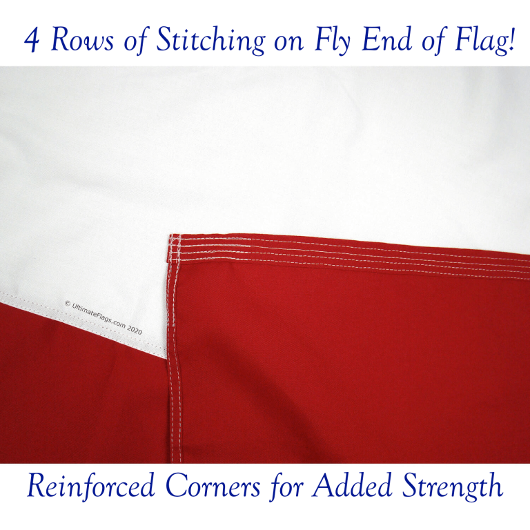 4 rows of stitching on fly end of heavy duty outdoor texas flags for sale