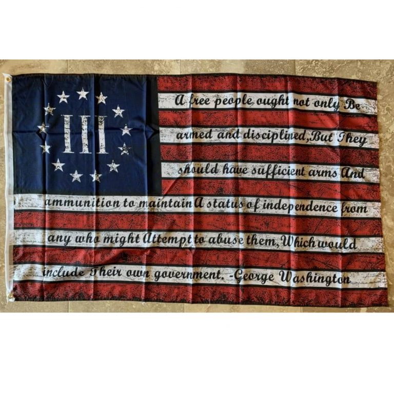 george washington 2nd amendment quote on patriotic usa III flag for sale