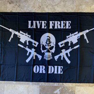 live free or die skull guns flag