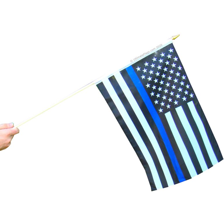 buy thin blue line police flag on stick