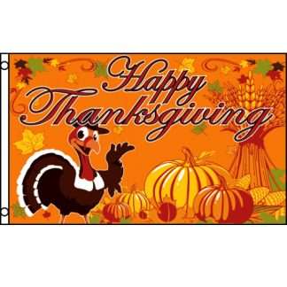 buy happy thanksgiving flag with turkey orange fall colors flag
