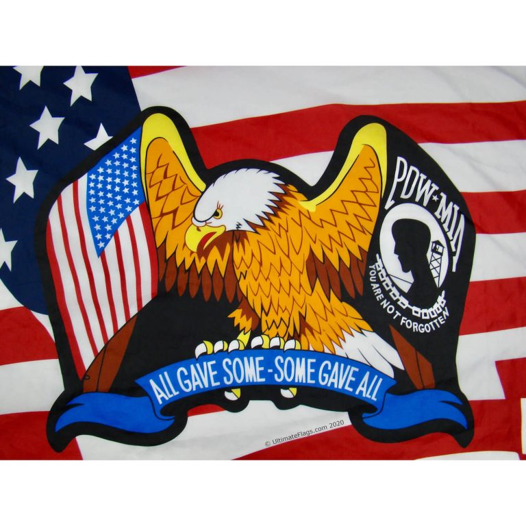american pow mia eagle closeup on flag