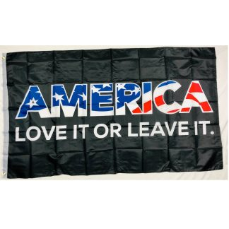 america love it or leave it flag in black 3x5 with America filled in with Patriotic USA flag colors