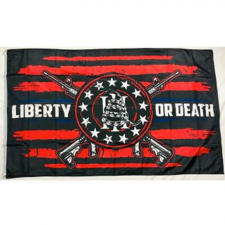 liberty or death flag red rifles snake III%