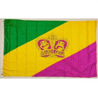 buy mardi gras flag with crown drama faces