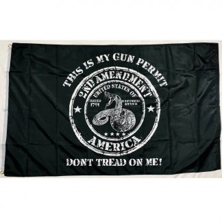 this is my gun permit flag 2nd amendment rattlesnake black flags for sale says dont tread on me at bottom outdoor 3x5 feet