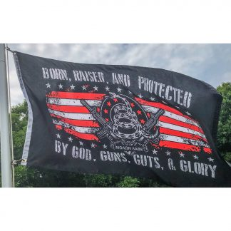 born raised and protected by god guns guts and glory flags gadsden snake