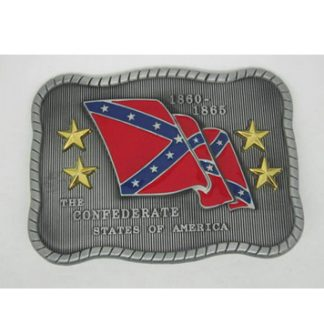 csa belt buckle for sale, civil war commemorative gift 1860-1865 with stars and waving Confederate Rebel Battle Flag