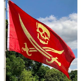 red weathered pirate flag jack rackham 3x5