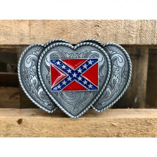 ladies confederate flag belt buckle with triple hearts for sale