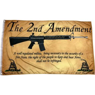 the 2nd amendment flag with gun on parchment paper weathered vintage don't tread on me snakes flanking quote