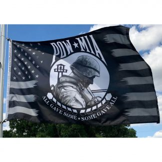 buy pow mia flag with soldier wearing helmet All Gave Some Some Gave all under soldier