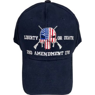 liberty or death punisher 2nd amendment cap for sale in navy blue