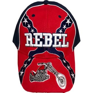 rebel flag with chopper motorcycle hat